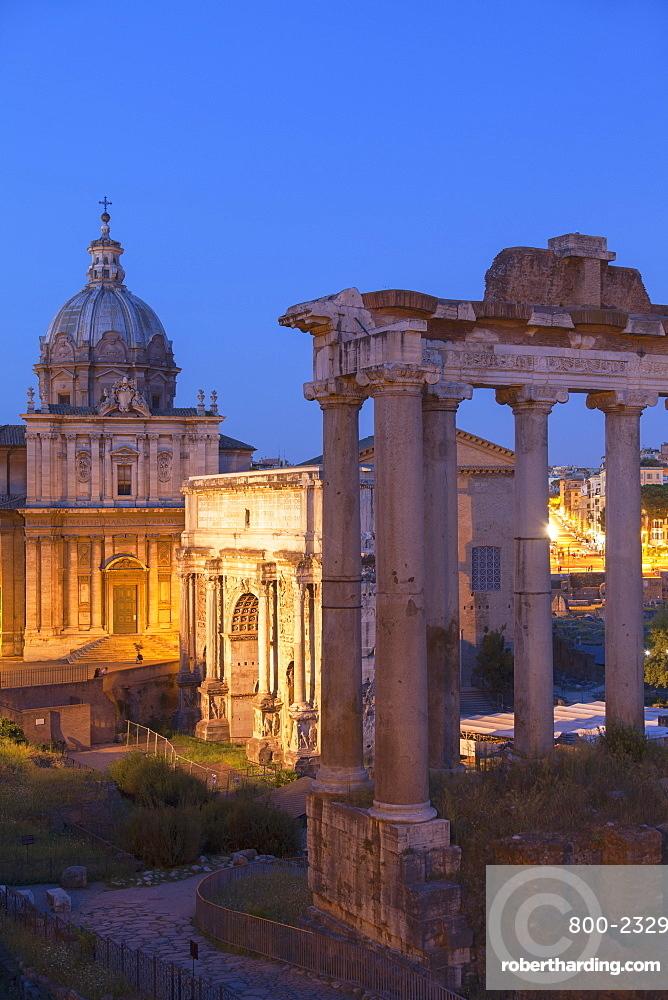 Roman Forum at dusk, UNESCO World Heritage Site, Rome, Lazio, Italy, Europe