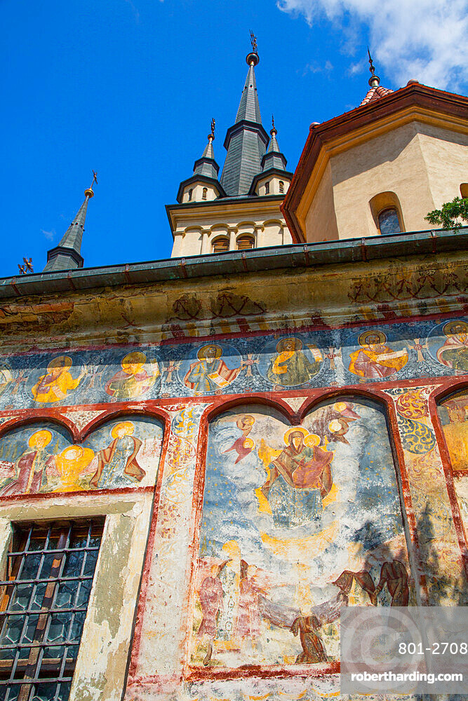 External Frescoes, St Nicholas Orthodox Church, Founded 1292, Brasov, Transylvania Region, Romania