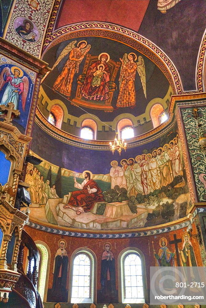 Frescoes, Holy Trinity Cathedral, founded 1902, Sibiu, Transylvania Region, Romania, Europe