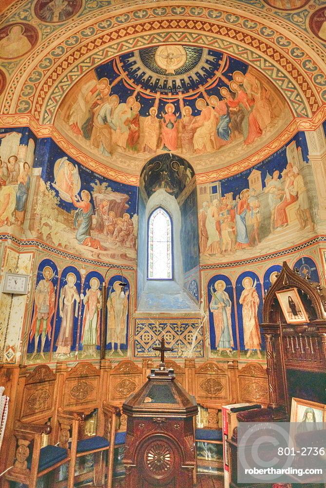 Interior Frescoes, St. George Church Mirauti, 1375, Suceava, Suceava County, Romania, Europe