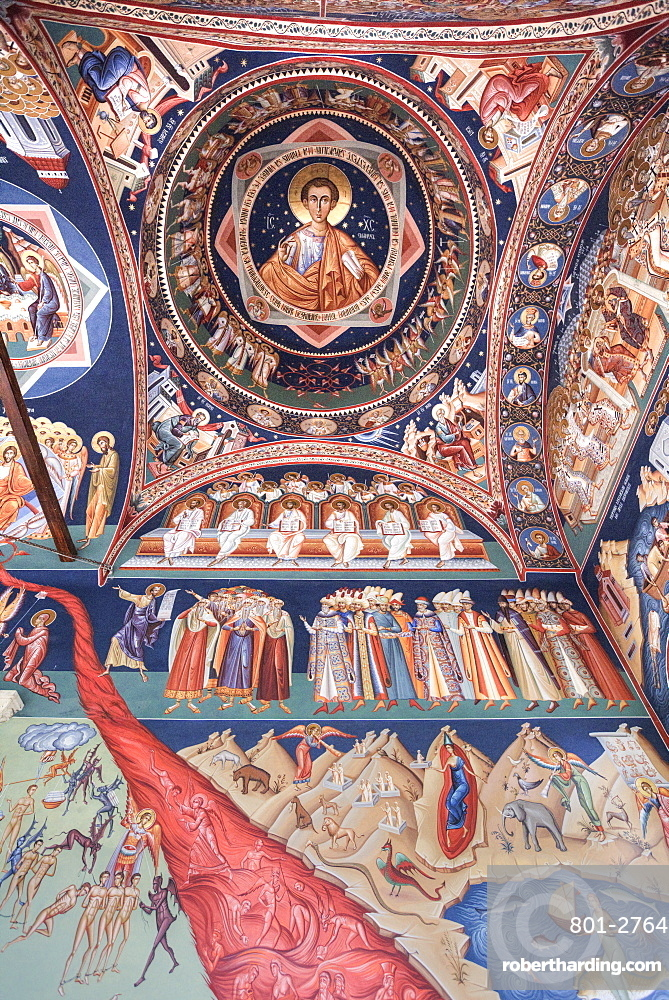 Frescoes, 'Last Judgement', New St George Church, 1705, Old Town, Bucharest, Romania