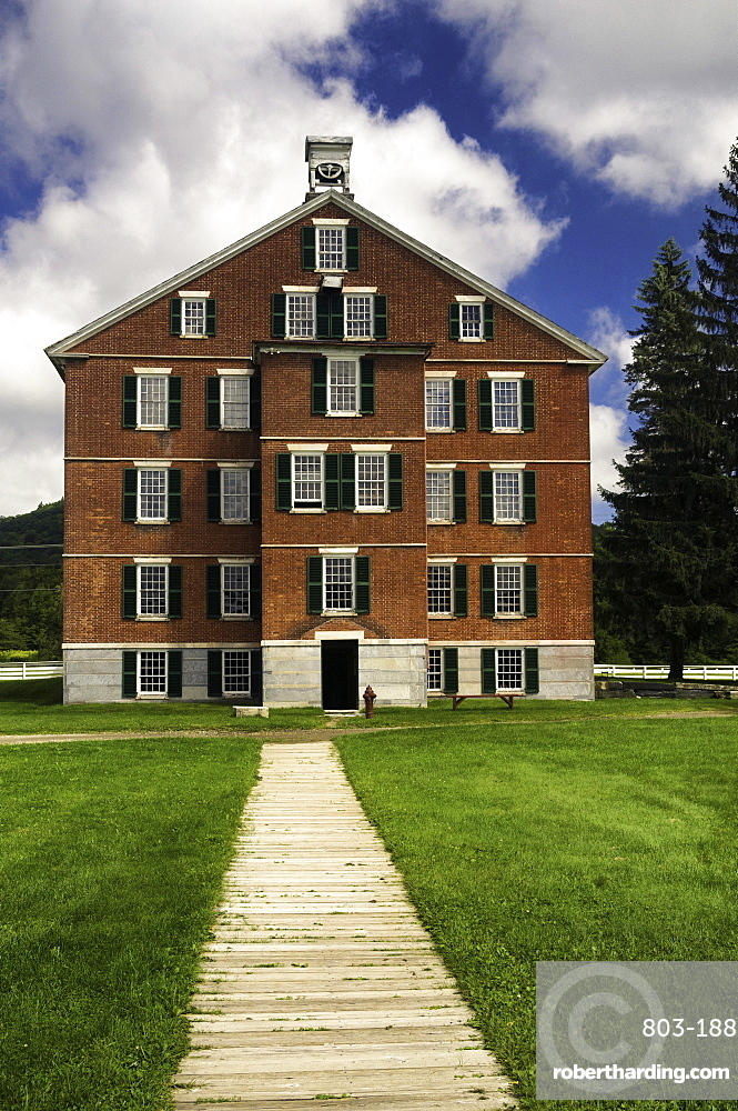 1830s brick building used as housing for about 100 members of the Shaker community in the Hancock Shaker Village, Hancock, Massachusetts, New England, United States of America, North America