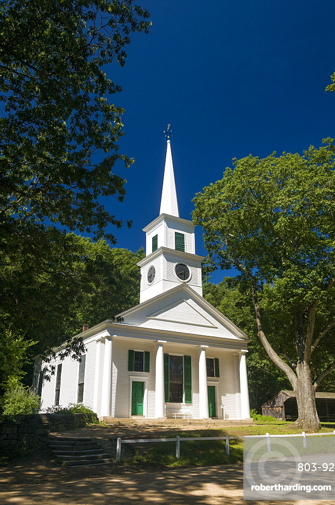 Church at Old Sturbridge Village, a living history museum depicting early New England life from 1790 to 1840 in Sturbridge, Massachusetts, New England, United States of America, North America