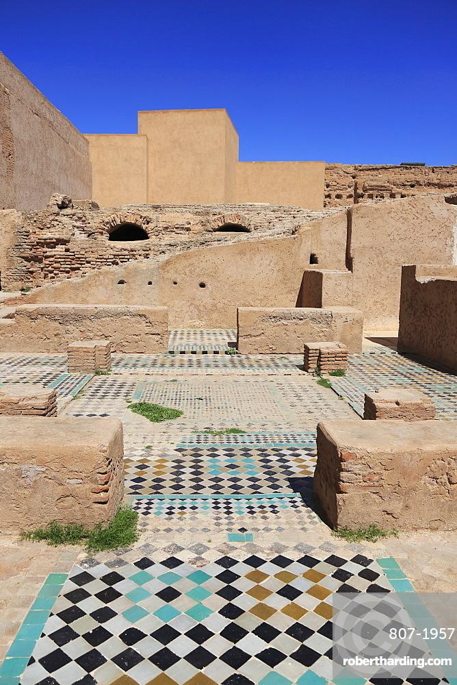 Ruins, El Badi Palace (Badii Palace) (Badia Palace), The Incomparable Palace, 16th century, Marrakesh (Marrakech), Morocco, North Africa, Africa
