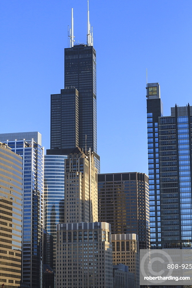 Skyscrapers including Willis Tower, formerly Sears Tower, Chicago, Illinois, United States of America, North America