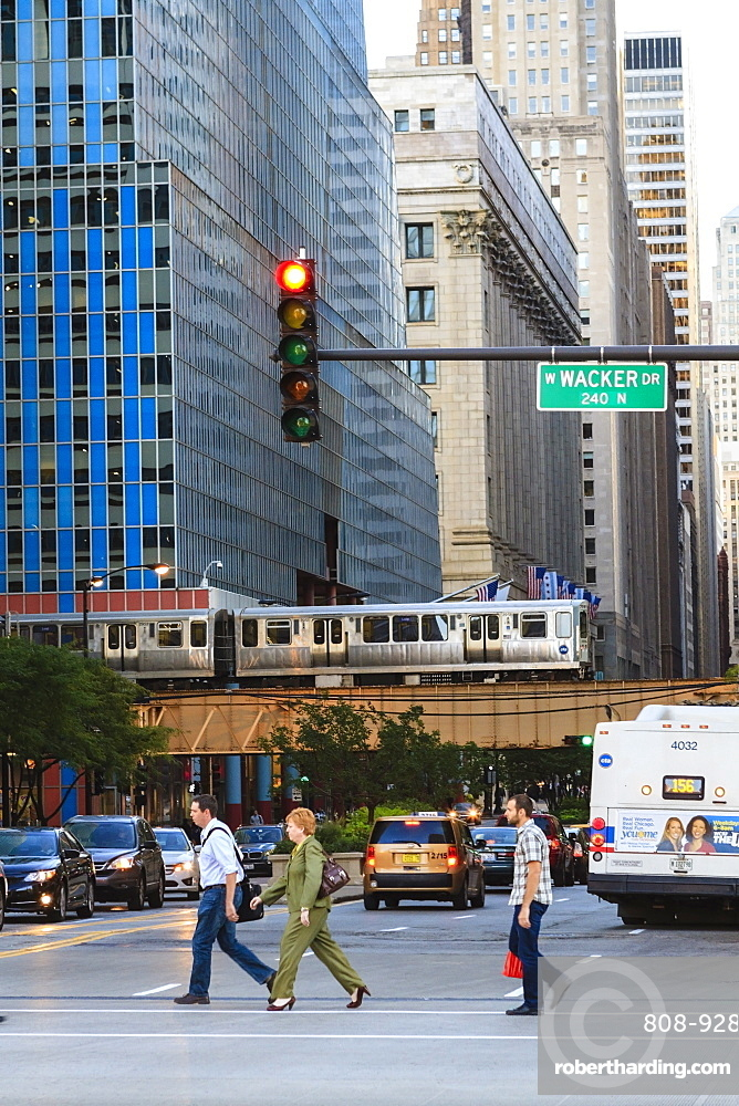 L train on elevated track crosses South LaSalle Street in the Loop district, Chicago, Illinois, United States of America, North America