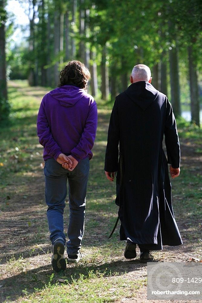 Spiritual retreat in Solesmes Benedictine abbey, Solesmes, Sarthe, France, Europe