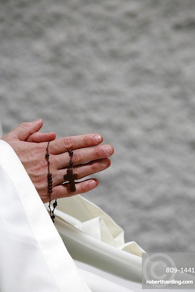 Monk praying, Evian, Haute Savoie, France, Europe