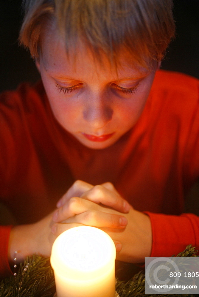 Advent prayer, St. Gervais, Haute Savoie, France, Europe
