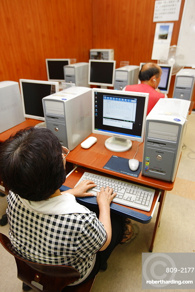 Computer training in Migrant support center run by Presbyterians, Seoul, South Korea, Asia
