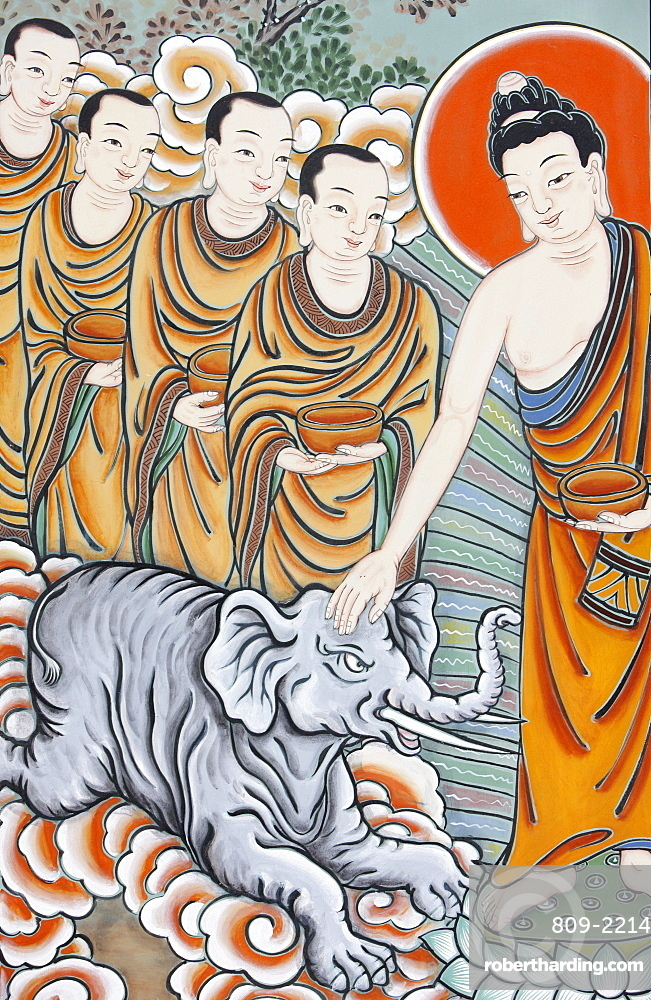 The Buddha taming an elephant, depicted in the Life of Buddha, Seoul, South Korea, Asia