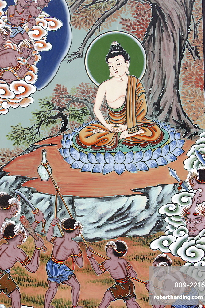 Temptation and Enlightenment depicted in the Life of Buddha, Seoul, South Korea, Asia