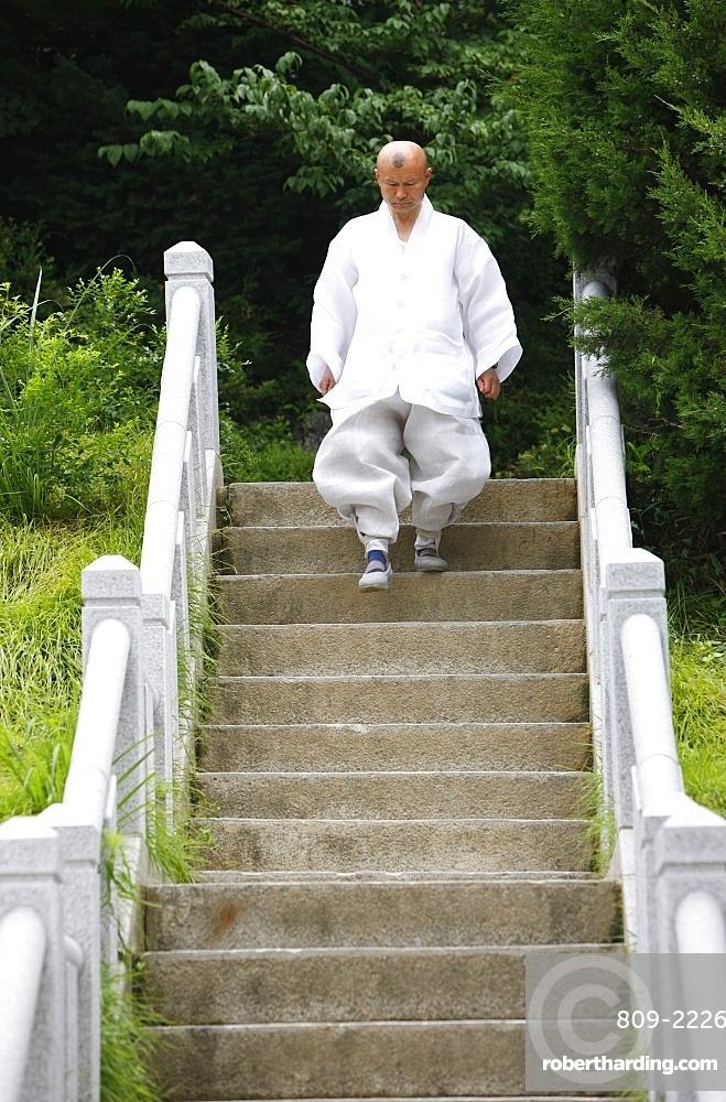 Buddhist monk, Bongeunsa temple, Seoul, South Korea, Asia