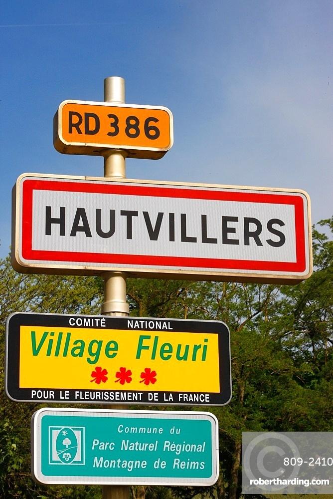 Hautvillers village sign, Marne, France, Europe