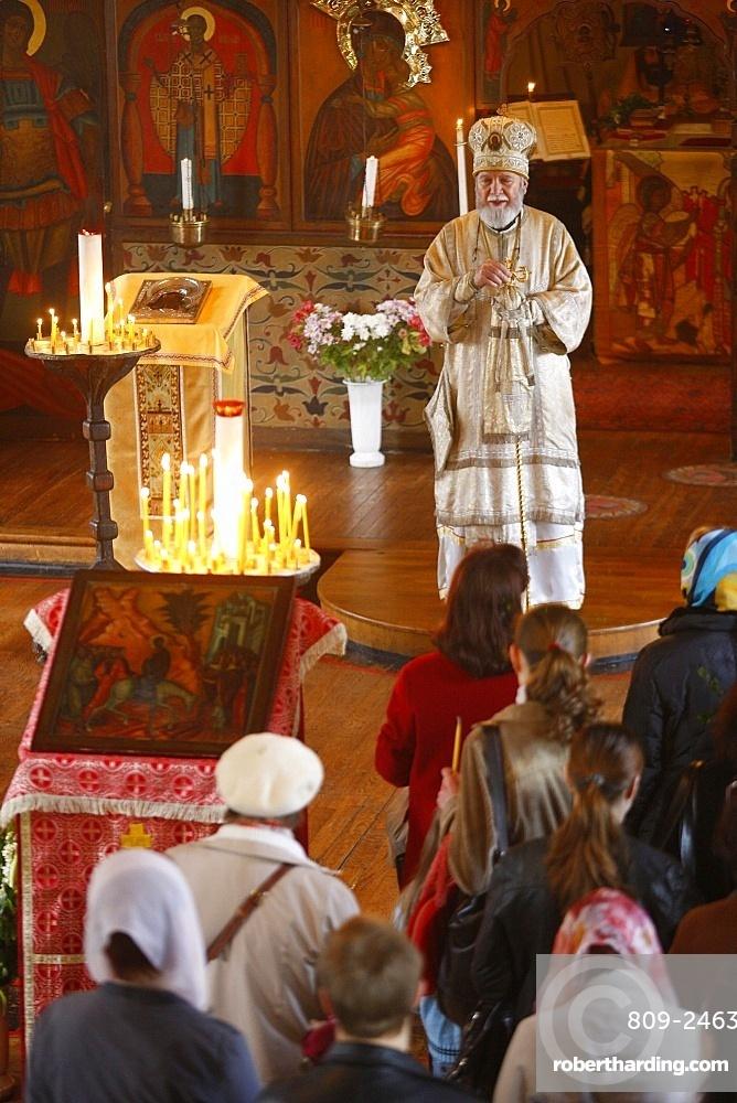 Palm Sunday celebration in Saint Serge Orthodox church, Paris, France, Europe