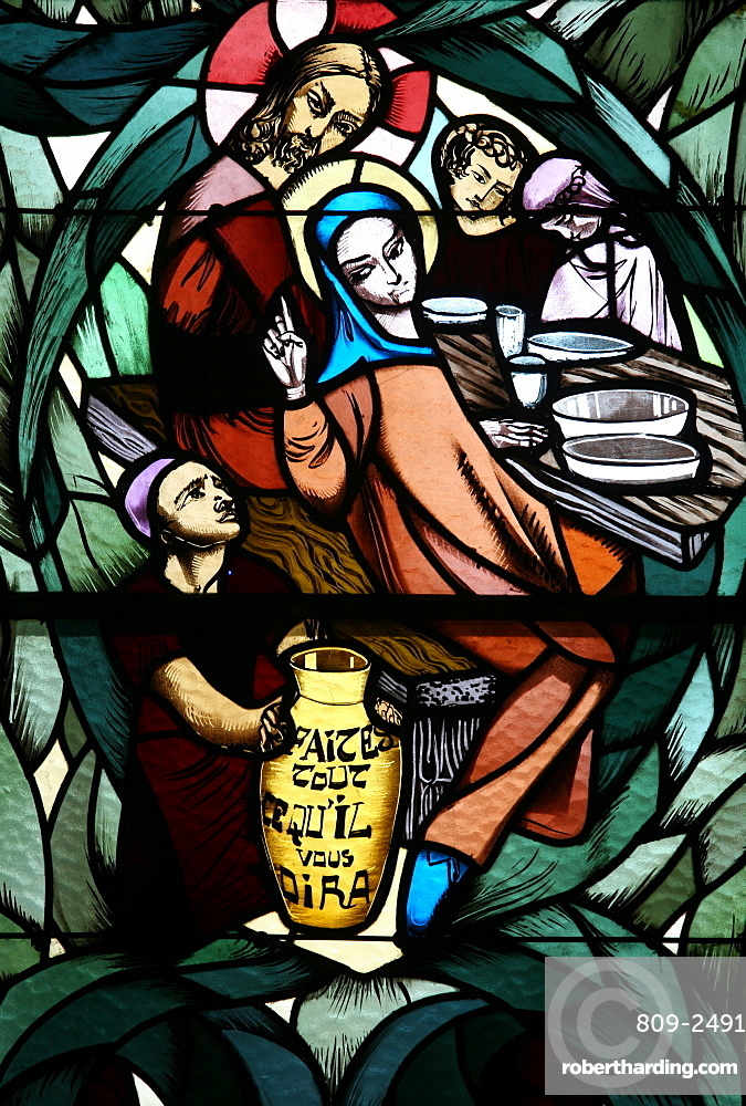 Stained glass window of the Cana wedding feast, Saint-Joseph des Fins church, Annecy, Haute Savoie, France, Europe