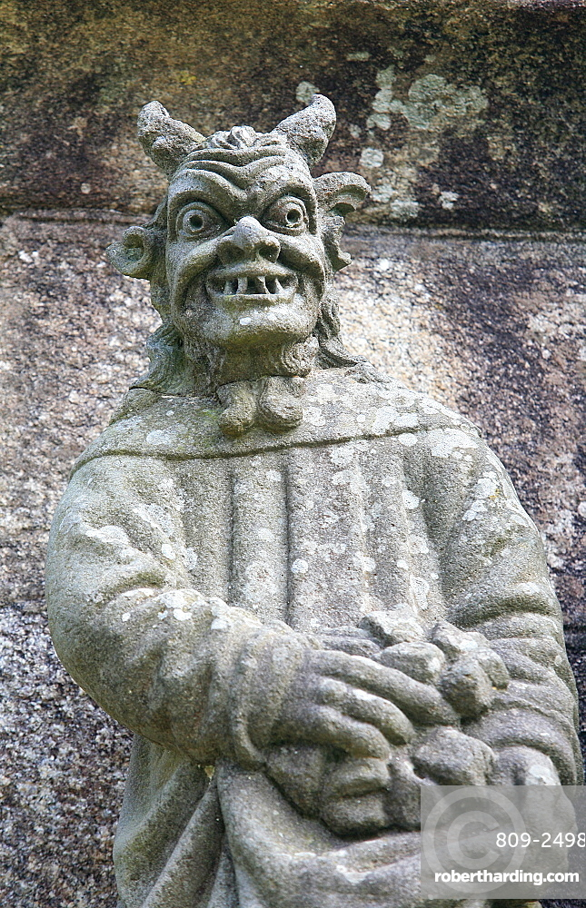 The Devil on the Plougonven calvary, Plougonven, Finistere, Brittany, France, Europe