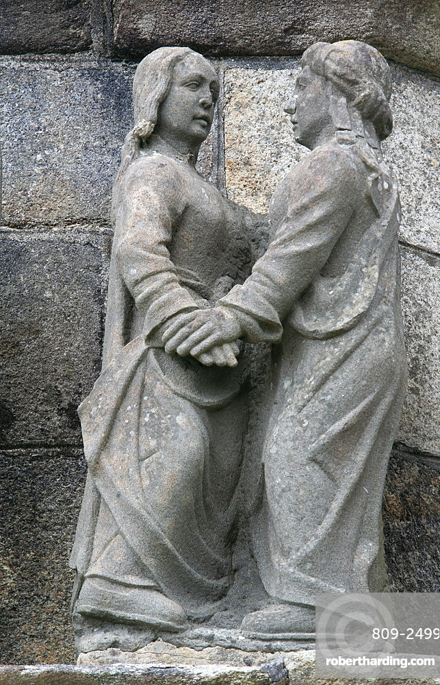The Visitation on the Plougonven calvary, Plougonven, Finistere, Brittany, France, Europe