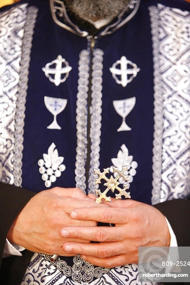 Orthodox Coptic priest, Chatenay-Malabry, Hauts de Seine, France, Europe