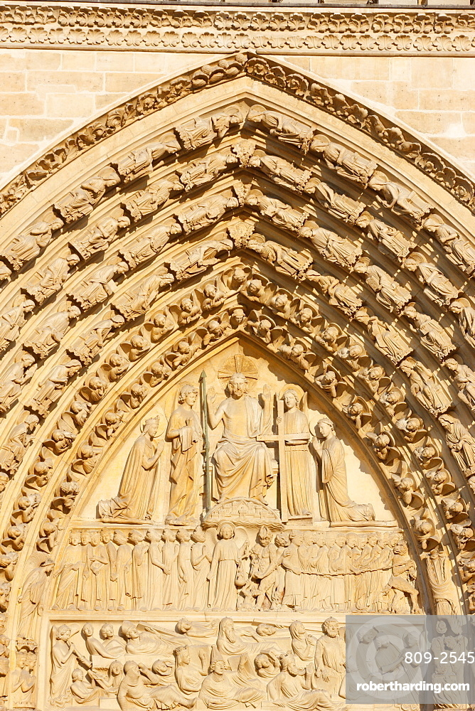 Last Judgment gate tympanum, west front, Notre Dame Cathedral, UNESCO World Heritage Site, Paris, France, Europe