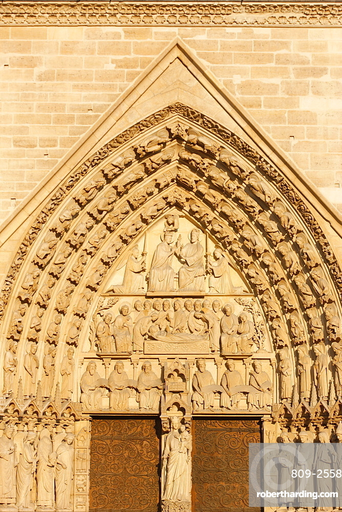 Virgin's Gate tympanum, west front, Notre Dame Cathedral, UNESCO World Heritage Site, Paris, France, Europe