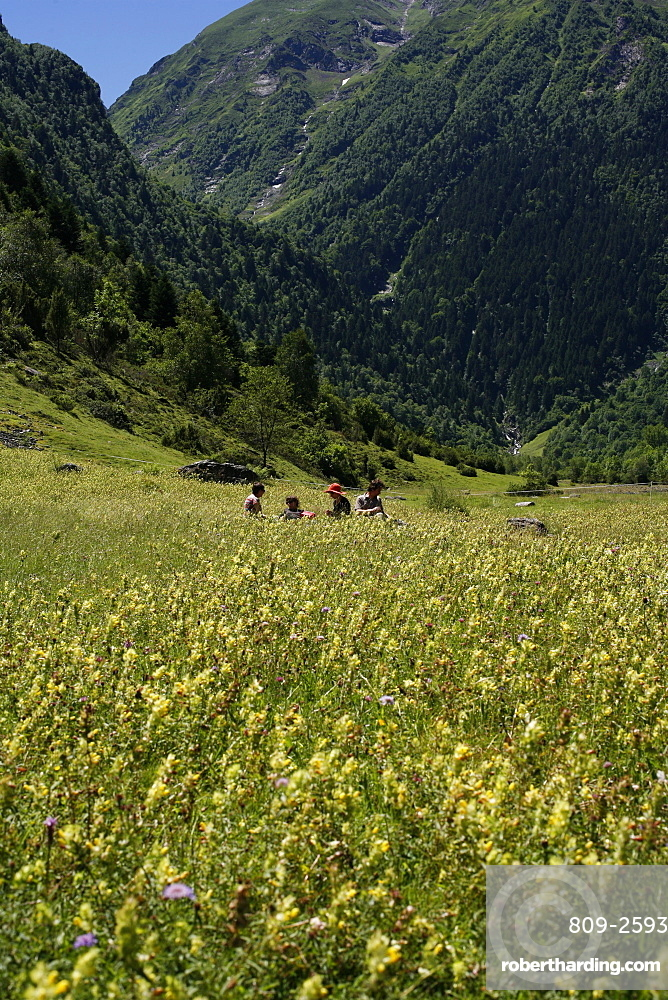 Family picnic, Hautes Pyrenees, France, Europe