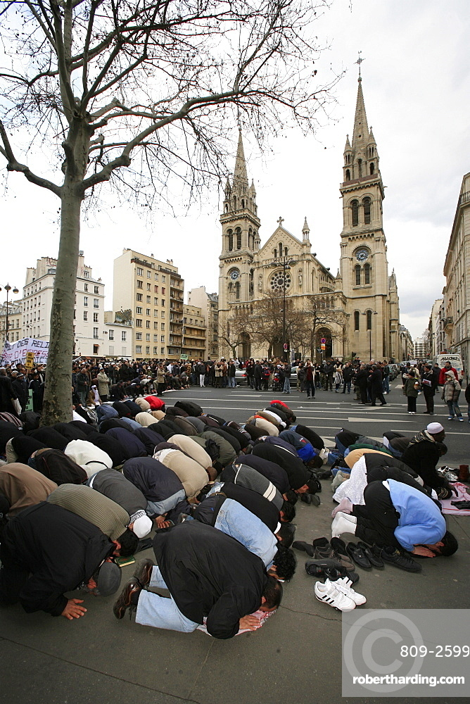 Muslim demonstration in front of church, Paris, France, Europe