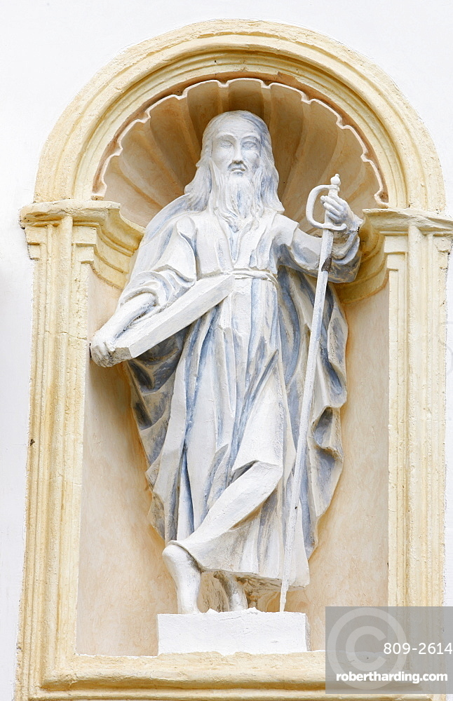 Statue of St. Paul in Saint-Nicolas de Veroce church, Haute Savoie, France, Europe