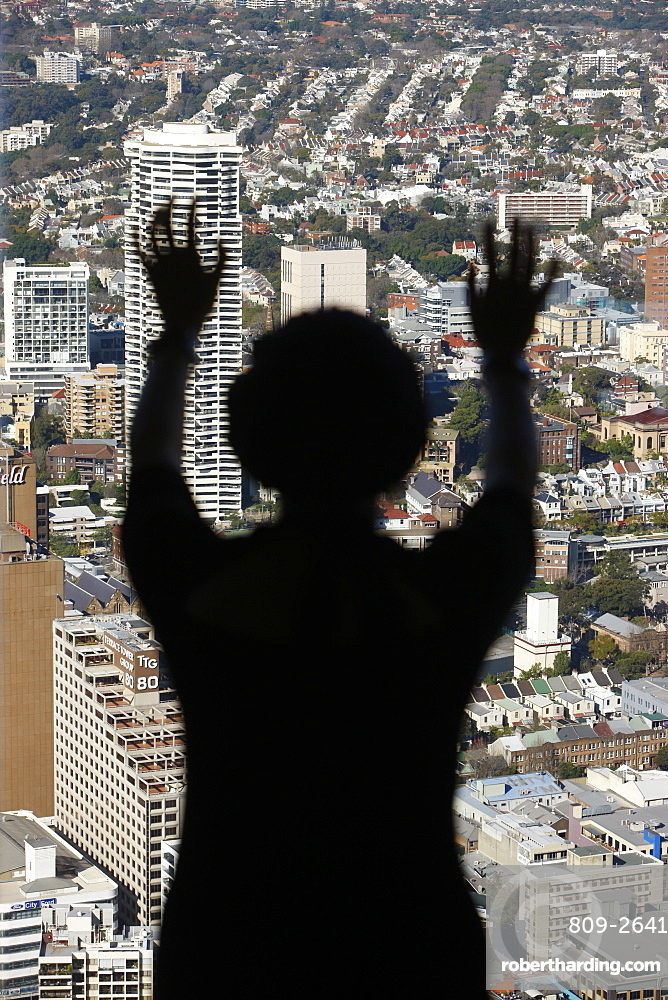 Figure and urban landscape, Sydney, New South Wales, Australia, Pacific