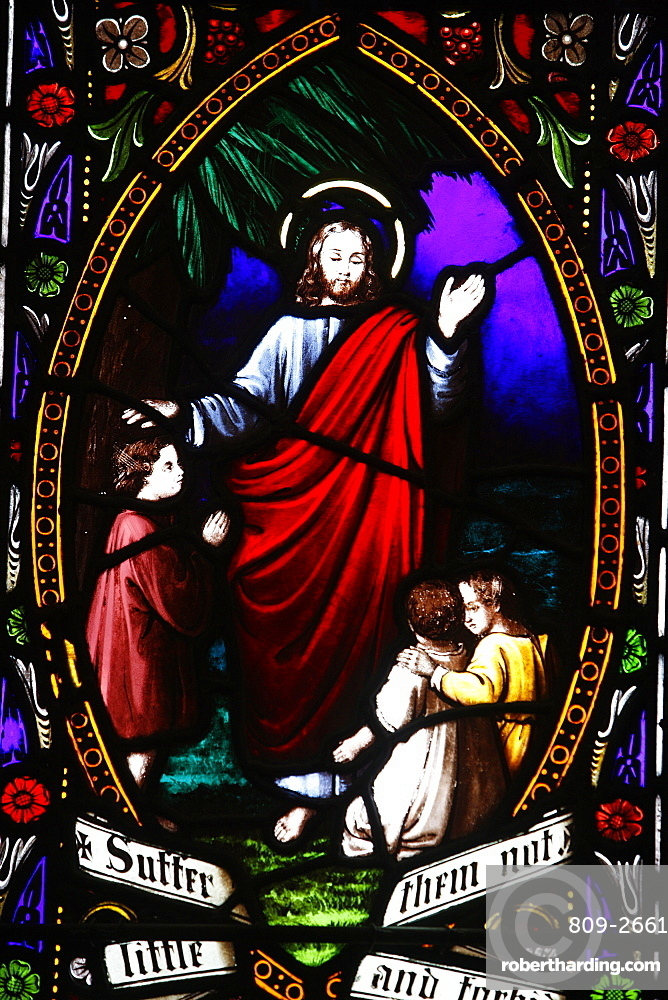 Jesus blessing the children, 19th century stained glass in St. John's Anglican church, Sydney, New South Wales, Australia, Pacific