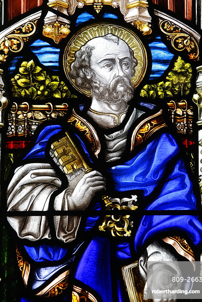 St. Peter, 19th century stained glass in St. John's Anglican church, Sydney, New South Wales, Australia, Pacific
