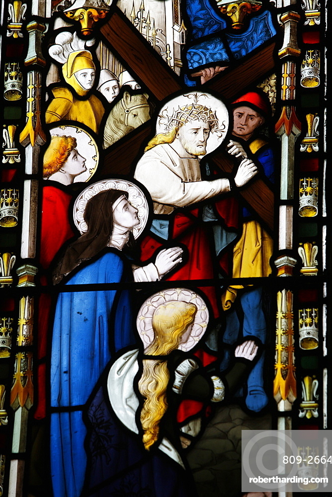 Jesus carrying the cross, 19th century stained glass in St. John's Anglican church, Sydney, New South Wales, Australia, Pacific