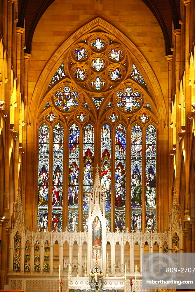 Central nave and an aisle on either side, St. Mary's Cathedral, Sydney, New South Wales, Australia, Pacific
