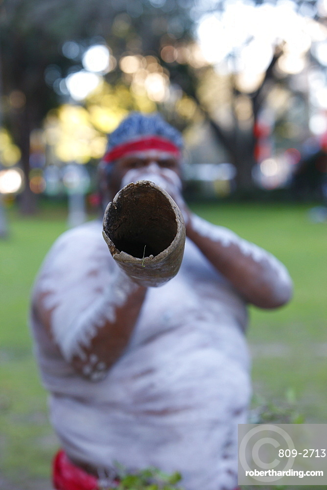 Indigenous Australian music, the didgeridoo is the national instrument of Aboriginal people, Sydney, New South Wales, Australia, Pacific