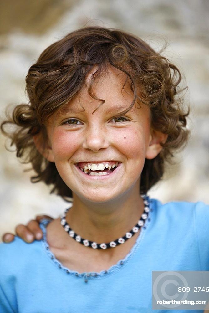 Smiling girl, Elbassan, Albania, Europe