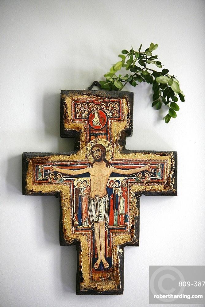 Cross in a room, Saint-Pierre de Solesmes Abbey, Solesmes, Sarthe, Pays de la Loire, France, Europe