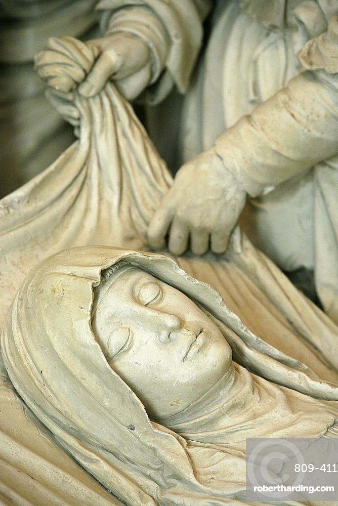 Detail of sculpture of Mary's entombment, Saint-Pierre de Solesmes Abbey church, Solesmes, Sarthe, Pays de la Loire, France, Europe