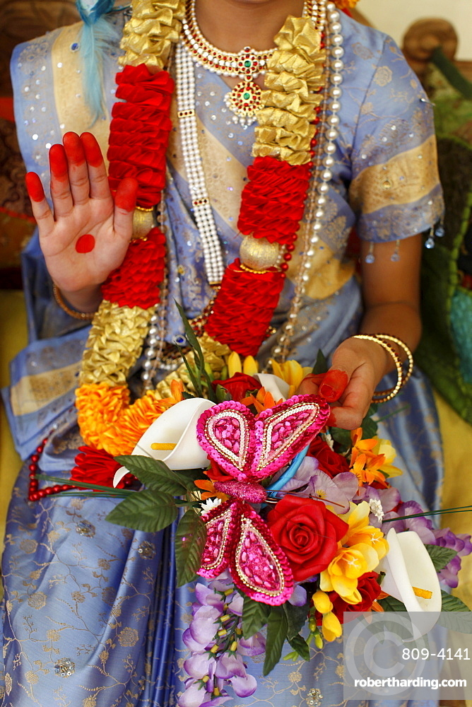 Girl impersonating Hindu goddess Radha (Krishna's consort) at Janmashtami festival at Bhaktivedanta Manor ISKCON (Hare Krishna) temple, Watford, Hertfordshire, England, United Kingdom, Europe