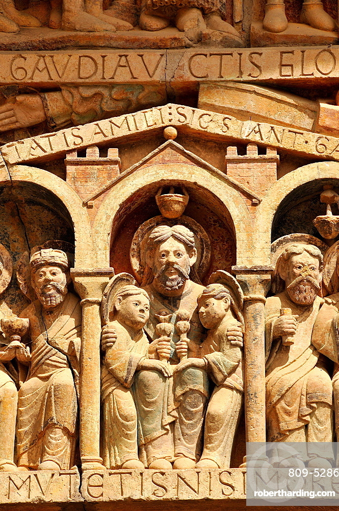 Detail of the tympanum depicting the Last Judgment and Heaven, Sainte-Foy de Conques abbey church, Conques, Aveyron, Midi-Pyrenees, France, Europe