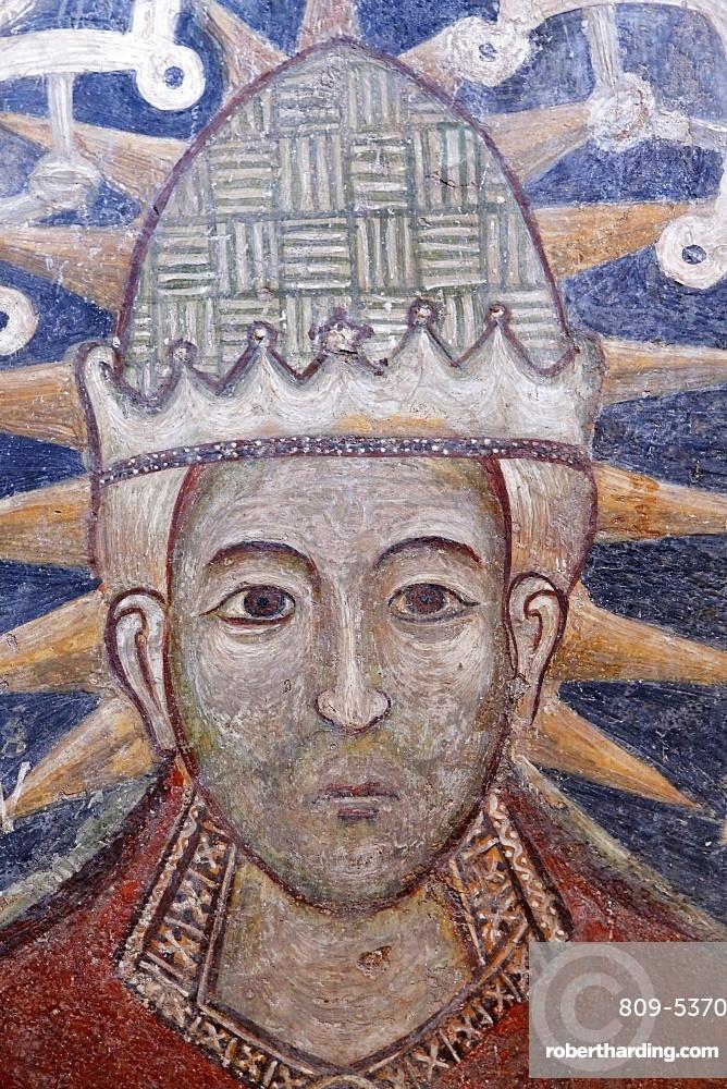 Detail of fresco of Pope Urban VI in Santa Maria della Croce church, Casarano, Lecce, Apulia, Italy, Europe