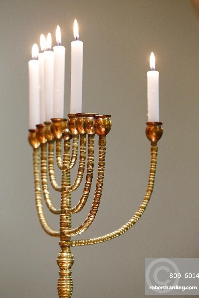 Lighting the Hanukkah candles, Paris, France, Europe