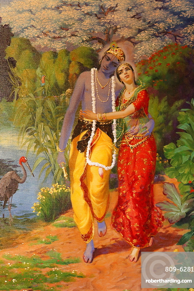 Picture of Krishna and Radha displayed in an ISKCON temple, Sarcelles, Seine St. Denis, France, Europe