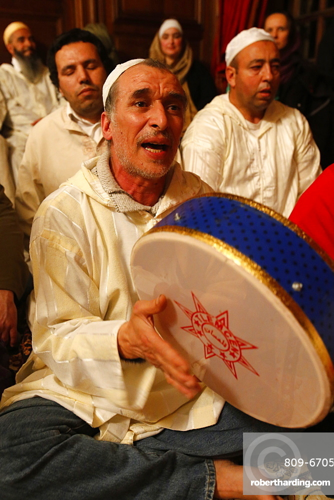 Alawi Sufi Muslims singing and playing drums, Nandy, Seine-et-Marne, France, Europe