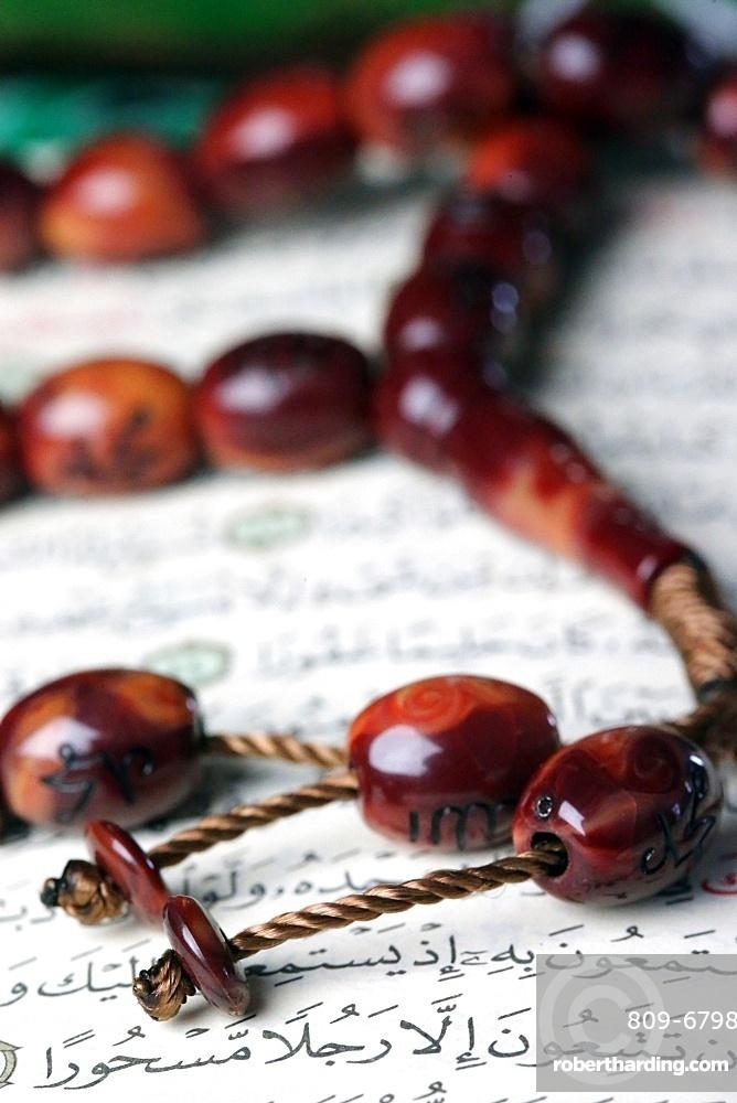 Quran and Tasbih (prayer beads), Haute-Savoie, France, Europe