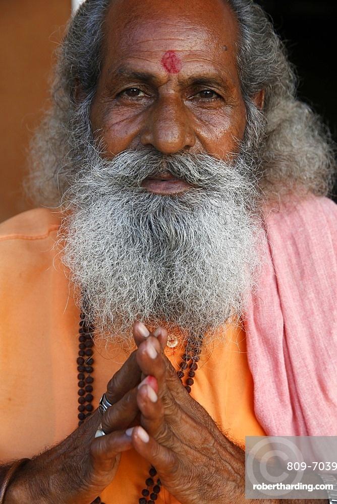 Indian sadhu in Vrindavan, Uttar Pradesh, India, Asia