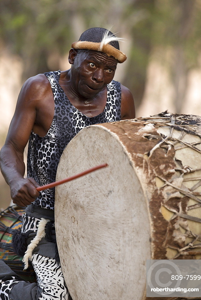 African traditional djembe drummer, Kruger National Park, South-Africa, Africa