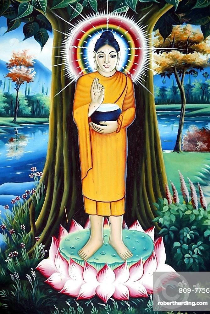 Pitu Khosa Rangsay Buddhist pagoda, painting of the Life of the Buddha, Siddhartha Gautama, Can Tho, Vietnam, Indochina, Southeast Asia, Asia