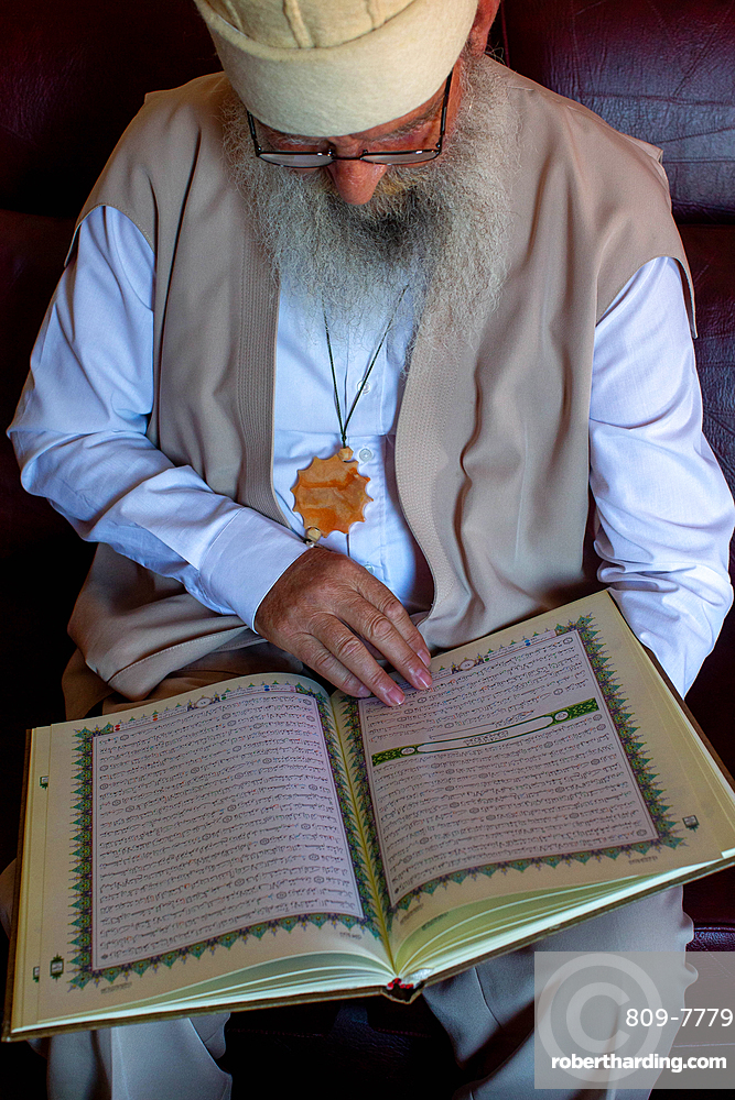 Baba Mumin Lama, Koran reading, Bektachi (Bektashi) Tekke in Gjakove, Kosovo, Europe