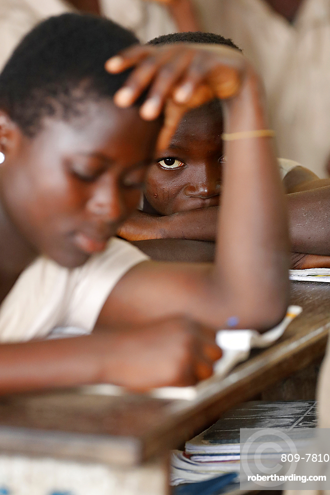African primary school, young girl in the class room, Lome, Togo, West Africa, Africa