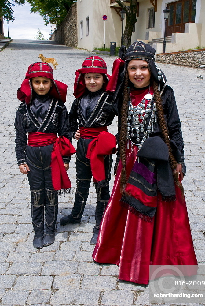 Young traditionally dressed Georgian children, Sighnaghi, Georgia, Caucasus, Central Asia, Asia